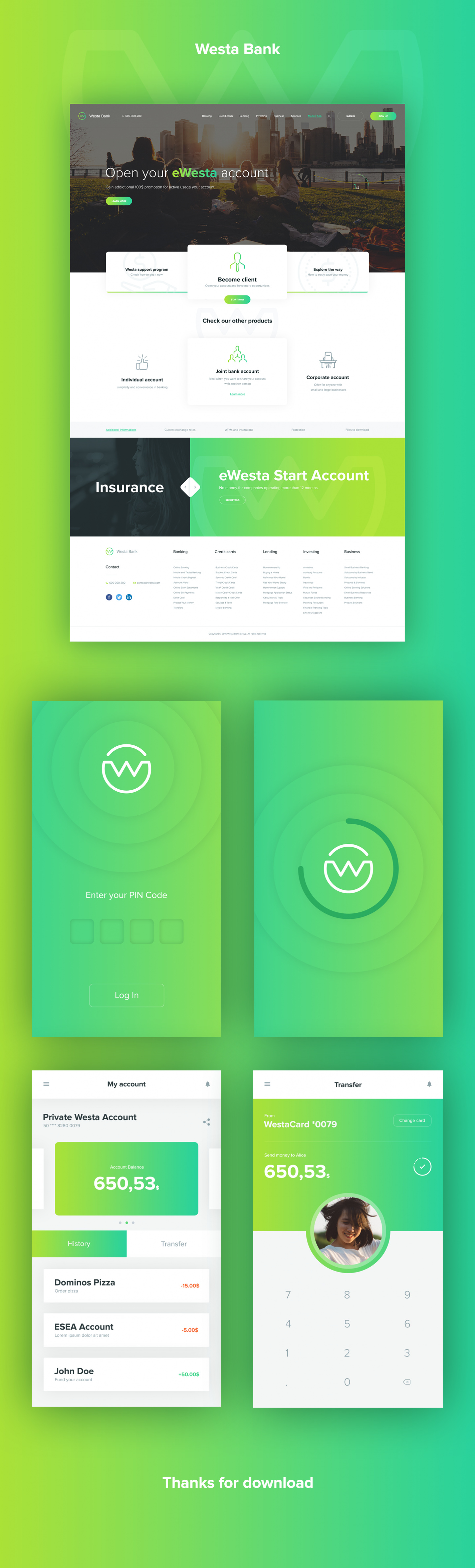 westa psd template and mobile app